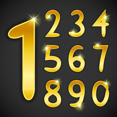 Number set in golden style on black background. Vector