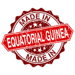 made in Equatorial Guinea red stamp isolated on white background