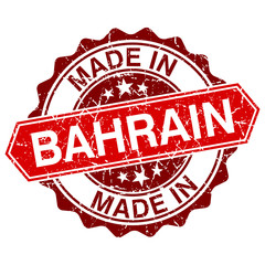made in Bahrain red stamp isolated on white background