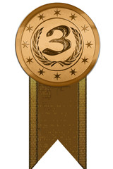 Vector Medal - Third Place with Ribbon