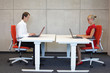 canvas print picture - business couple  in correct sitting posture at workstations