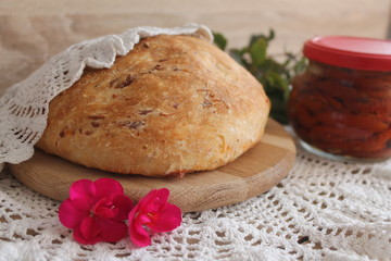 bread with sun-dried tomato cheese and barberry