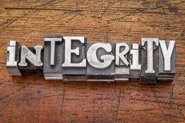 integrity word in metal type