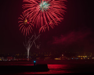 Fireworks over Aberdeen harbour UK