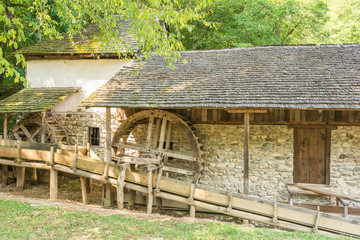 Old Wooden Watermill In Forest