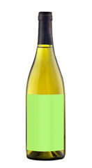 White wine bottle isolated with blank label.