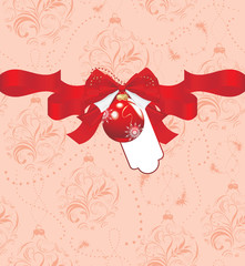 Christmas ball with bow on the seamless ornamental background