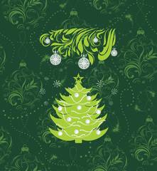 Stylized Christmas tree on the seamless background with tinsel