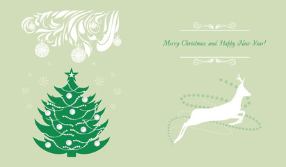 Christmas tree and deer. Background for greeting card