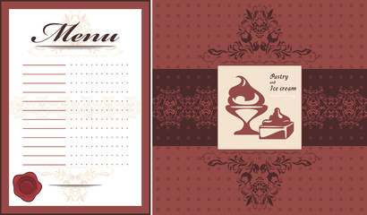 Pastry and ice cream. Menu card template and label for design