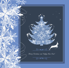 Stylized Christmas tree in the frame with tinsel and snowflakes