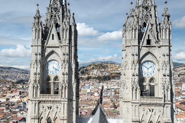 Twin steeples of the Basilica del Voto Nacional, Quito, Ecuador