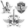 Set of rock and roll music emblems. - 73322753