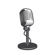 Vector illustration of isolated retro, vintage microphone. - 73322759