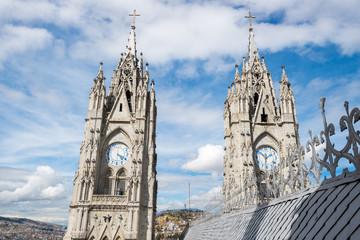 Twin steeples of the Basilica del Voto Nacional, Quito, Ecuador