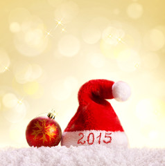 New Year 2015 background and Santa hat.