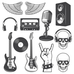 Set of rock and roll music elements.