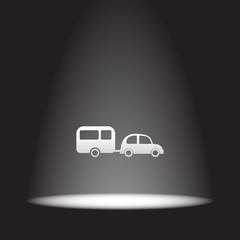 car and trailer vector icon