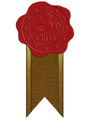 Vector Third Class Red Wax Seal with Ribbon