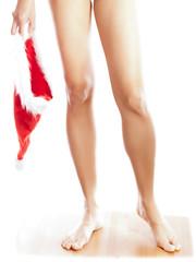 woman with santa hat wearing bikini