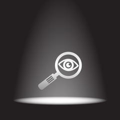 magnifying glass and eye vector icon