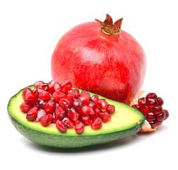 Ripe avocado and pomegranate