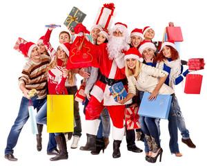 Group people and  Santa.