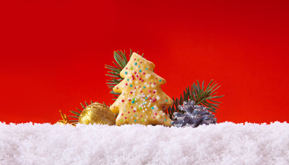 Christmas cookies and decoration on red background.