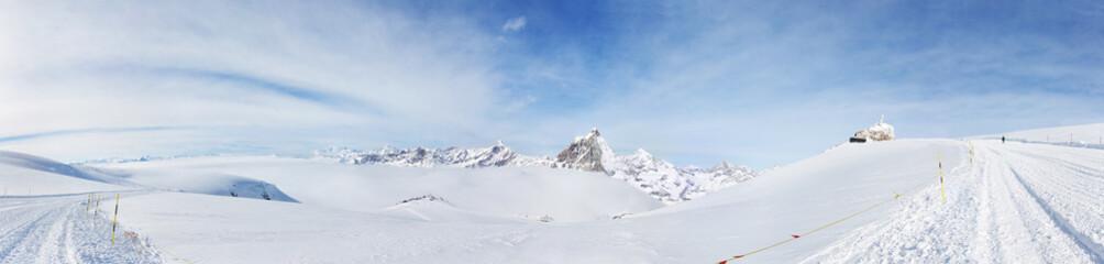 Panorama from Klein Matterhorn: the highest ski slope in Europe