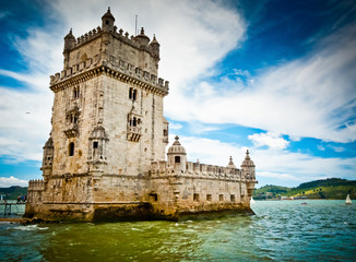 Belem Tower and Tagus river