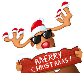 Rentier mit Merry Christmas
