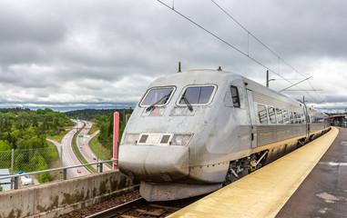 Sweden high-speed train on Sodertälje syd station in Sweden