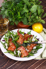 Grilled bacon and salad