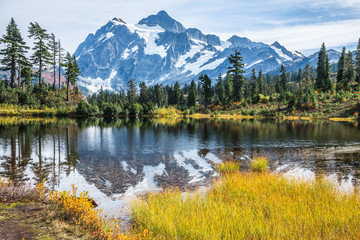 Snowy Mountain Peak Reflected in Picture Lake