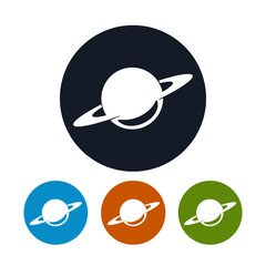 Planet icon, saturn icon, vector illustration
