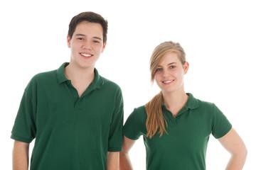 Portrait teen boy and girl