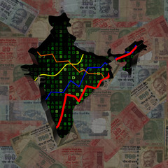 India map with hex code and graphs on Rupees illustration