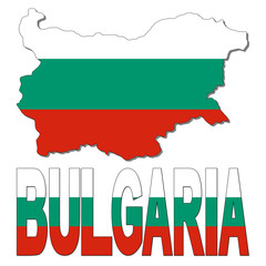 Bulgaria map flag and text illustration