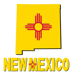 New Mexico map flag and text illustration
