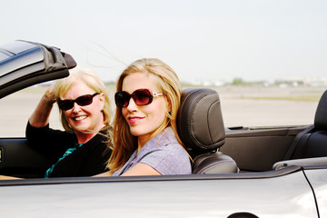 Two women in convertible