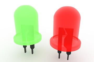 LED lampje rood en groen witte achtergrond