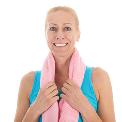 Portrait mature woman at fitness