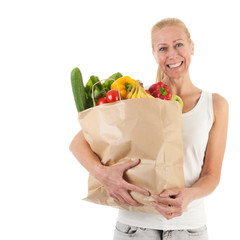Woman with healthy vegetables and fruit