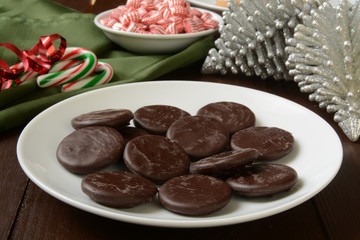 Chocolate mint cream Christmas cookies
