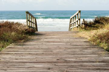 wooden pathway to the sea