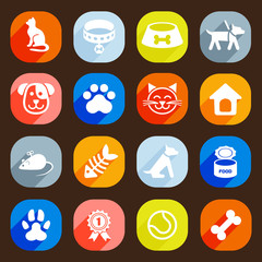 Trendy Flat dog and cat icons. Vector elements