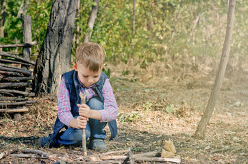 Cute Boy Playing at the Woodland During Autumn