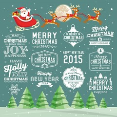Christmas decoration collection of with labels, icons element