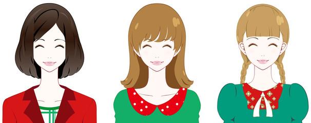 女性 ファッション クリスマスカラー 笑顔