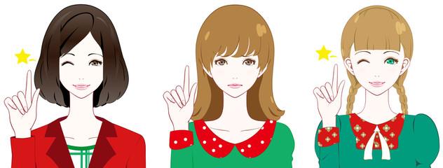 女性 ファッション クリスマスカラー ポイント